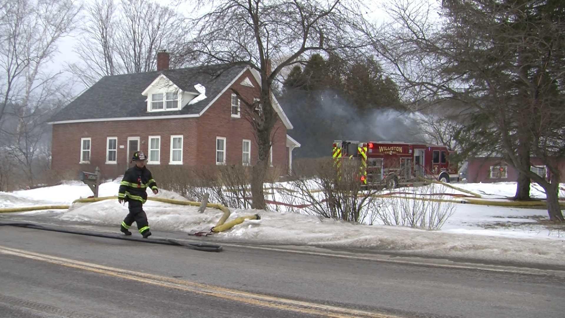 3-19-14 Crews battle barn fire, road closes - img