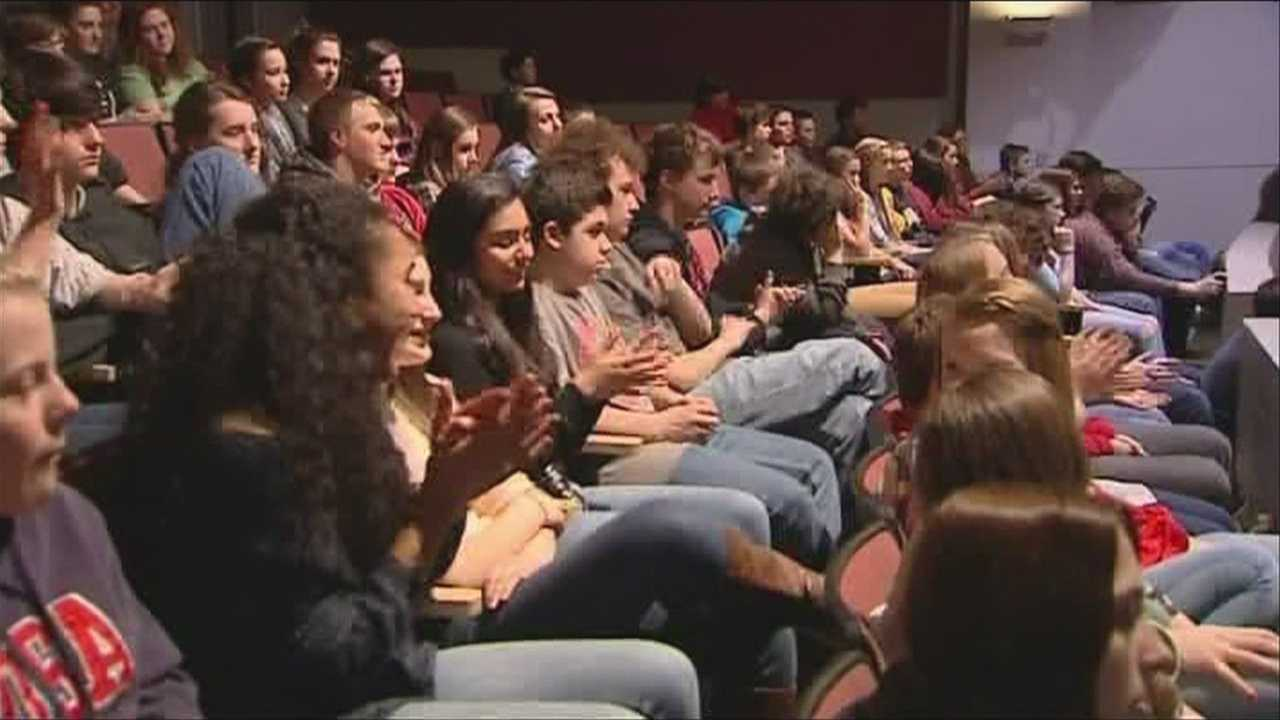 6 local olympians visit Saranac lake high school, getting asked the tough questions.
