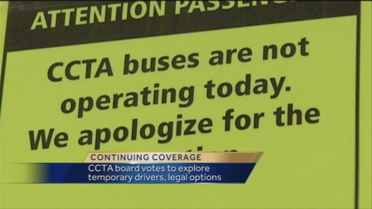 The Chittenden County Transit Authority's board of directors voted to have CCTA staff explore the possibility of bringing in temporary drivers during the strike and taking legal action.