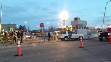 Authorities are cleaning up an ethyl alcohol spill at the Champlain, N.Y. border crossing. Tap here to view raw video from the scene.