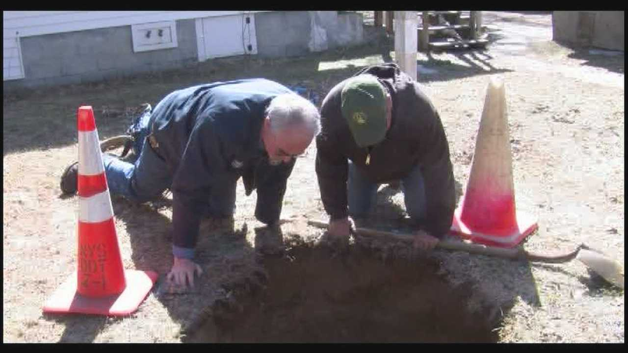 Couple finds backyard sinkhole