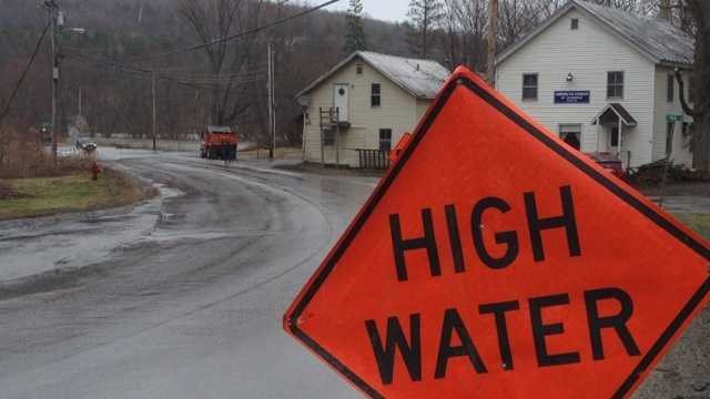 High Water warning in Cambridge, Vt. near the American Legion and Wrong Way Bridge.