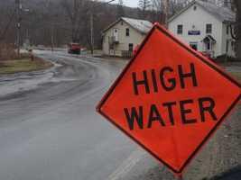 High Water warning in Cambridge, Vt. near the American Legion and Wrong Way Bridge.