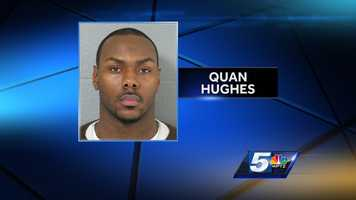 Quan Hughes, of New York City, was arrested and charged with selling cocaine after police say he sold the drug to an informant. Colchester police say 400 bags of heroin were seized from his apartment.