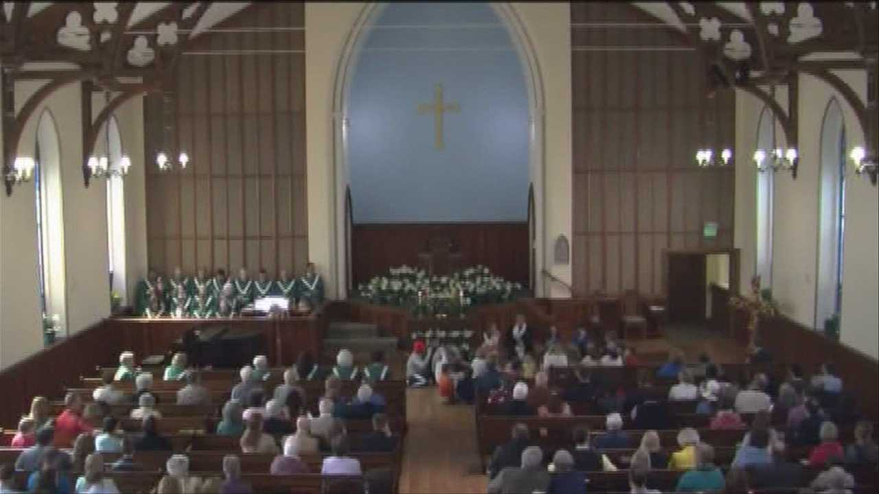 After a man set fire to their steeple in October, members at the College Street Congregational Church were back in their pews for their first service Easter Sunday.