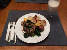 Alison prepared lemon and rosemary roasted chicken. As a side dish, she served roasted potatoes with sautéed mushrooms and kale.