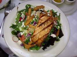 Grilled salmon salad with bugler wheat salad from Clyde's Restaurant in Georgetown, DC.