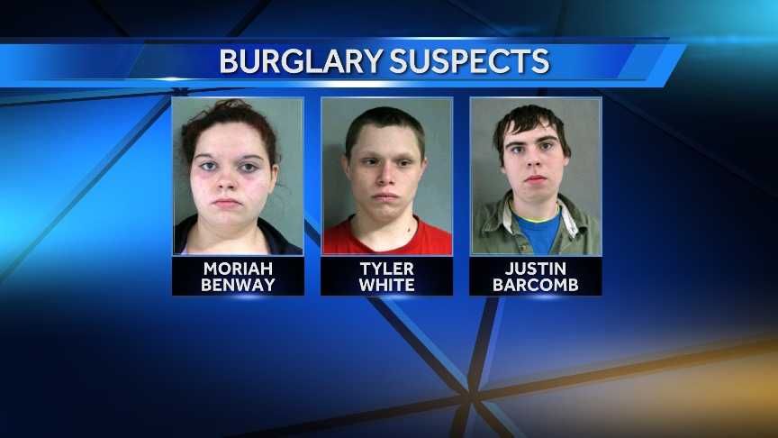 Moriah Benway, Tyler White, and Justin Barcomb are accused in a months-long burglary spree across three Vermont counties.