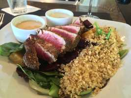 Blackened tuna and quinoa salad- I took a weekend trip to Boston to visit friends and we had brunch at The Scarlet Oak Tavern in Hingham, MA. I was tempted to go with my standard omelette but this was much better! - Vanessa Misciagna, reporter