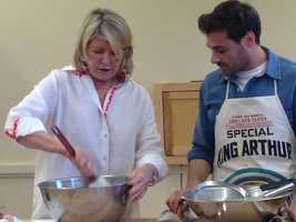 Martha Stewart mixes the ingredients for her stollen in a metal bowl. She INSISTS all bakers use a plastic spatula to make sure none of the dough gets left behind.