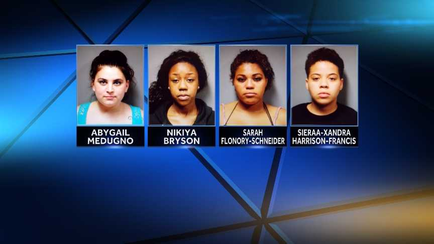 Sarah Flonory-Schneider, 20, Nikiya Bryson, 21, both of Manchester, N.H., and Abygail Medugno, 22, of Hooksett, N.H. were charged with prohibited acts. Sieraa-Xandra Harrison-Francis, 19, also of Manchester, was charged with aiding prohibited acts. The Hartford Police Department say the women were arrested during a prostitution sting.