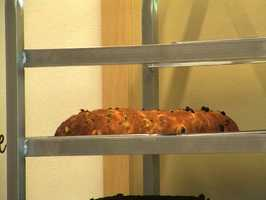 After baking to perfection, Martha let the stollen rest before covering it in a glittering coat of sugar.