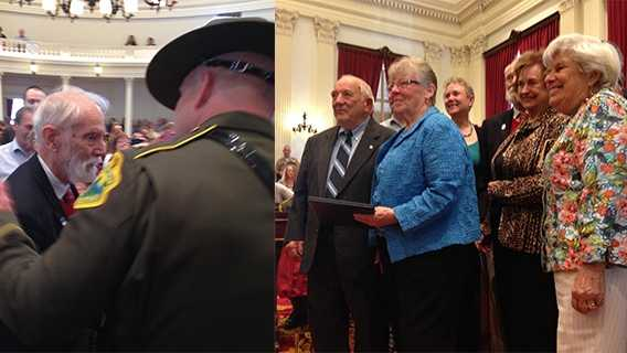 Seventy years after they rescued a bomber airman from a plane crash on Camel's Hump, eighty-six-year-old Peter Mason and 85-year-old Rolland Lafayette were honored Friday at the Statehouse with a search and rescue award.