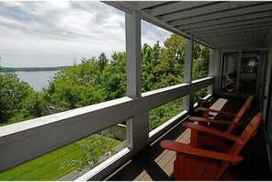 Just one of the home's lake-facing decks.