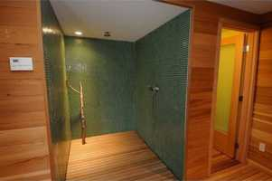 Master shower features an earthy feel and tones.