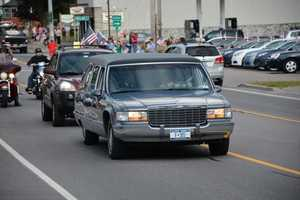 The hearse carrying Master Sgt. Lawrence Jock's remains
