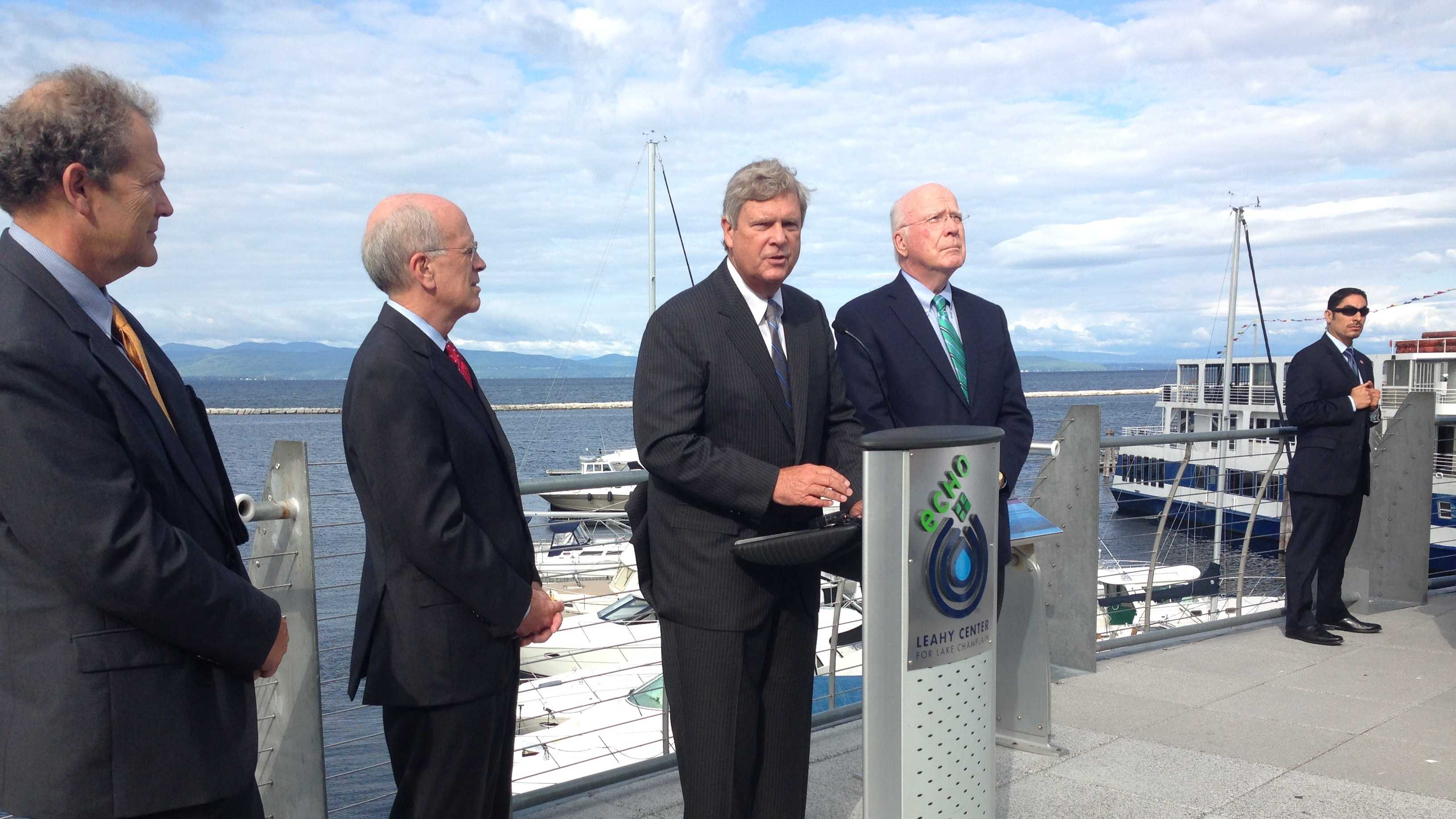U.S. Agriculture Secretary Tom Vilsack was in Burlington Thursday to announce funding for efforts to protect soil and water quality in the Lake Champlain Basin.