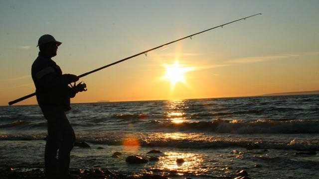 man fishing, fishing pole