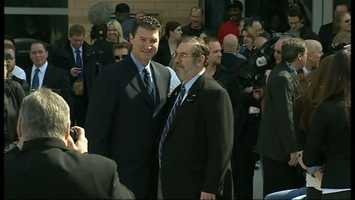 """Mario Lemieux at the unveiling of """"Le Magnifique,"""" a stature honoring his career and achievements."""