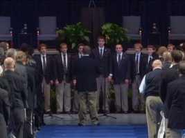 The Penn State Glee Club performs at Joe Paterno's memorial