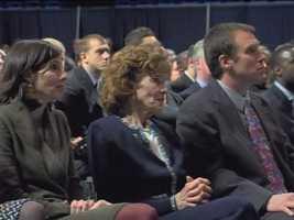 Sue Paterno, with family members at Joe Paterno's memorial service.