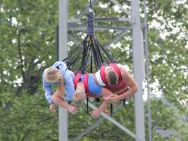 Three riders at a time are lifted up in the air, and free-fall at approximately 75 mph.