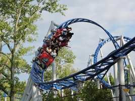The coaster features a number of cutbacks and loops.
