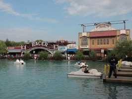 The lagoon is filled with paddle boats.