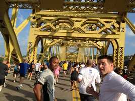 Janelle Hall takes this shot of Demetrius and John on the 16th Street Bridge.