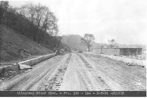 Allegheny River Blvd. is one of the main routes between Penn Hills and Pittsburgh today. Plans for the new highway were unveiled in 1926. The original plan included a 1400 foot tunnel near Washington Blvd, three bridges and three scenic lookouts.