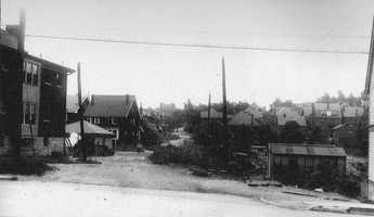 August 1924: South Negley Avenue pictured from Wilkins Avenue. Homes have replaced some of the older farms and estates.