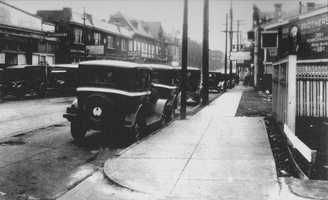 """This photo from 1927 shows the 1700 block of Murray Avenue from the intersection of Forbes Avenue. The Manor Theater is on the left. In 1935, Gulf Oil built the second largest gas station in the country on the corner lot in the foreground. The older images in this slide show are from the book """"Squirrel Hill"""" prepared by the Squirrel Hill Historical Society and published by Arcadia Publishing. The full book may be purchased through Arcadia on their website."""