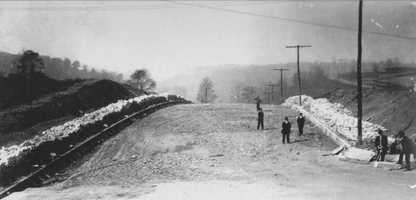 October 1908: Midway Street at Shady Avenue in a view looking west. A portion of Midway Street is now called Morrowfield Avenue, and the remainder appears to have been eliminated with the development of the Squirrel Hill Tunnel.