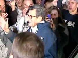 Fans flocked to Paterno's home and asked him to stay on the job. He was touched by the gesture, but said he would retire at the end of the football season.