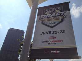 Signs promoting the upcoming draft can be seen across the city.