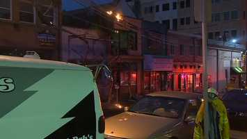 Wires on fire caused some damage to a business in Oakland Wednesday night.