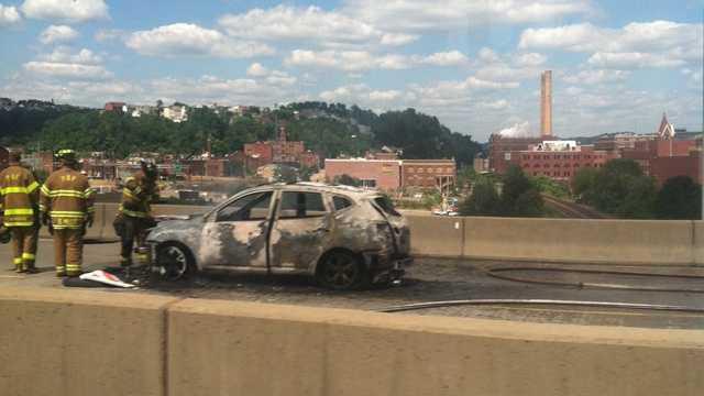 burned car on I-579