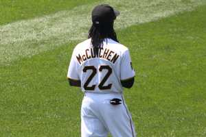 McCutchen said he probably wears a size 8 baseball hat because of his dreadlocks. He said he had to get his hat specially made.