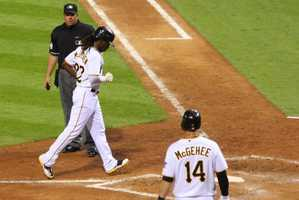 McCutchen met his current girlfriend for the first time following that three home run game.