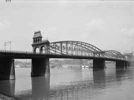 The Smithfield Bridge from across the Monongahela River.