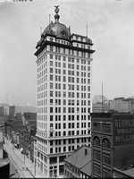 The distinctive T.J. Keenan building along Liberty Avenue in downtown Pittsburgh. This photo was taken before 1910.