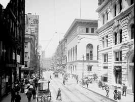 The corner of Fifth Avenue and Wood Street circa early 1900s.