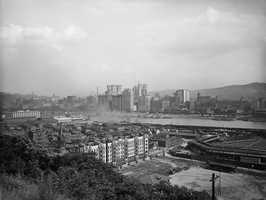 A look toward the Allegheny River from the present day North Shore. To the right in this photo is the old Exhibition Park. This photo is from the early 1910s.