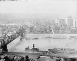 1908 - Five years later, you can see the Wabash train bridge constructed across the Monongahela River into the Golden Triangle in the city of Pittsburgh.