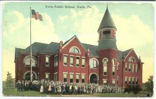 The original Irwin Public School from 1891-1931 on 6th Street in Irwin.  The building of 15 rooms was destroyed by fire.