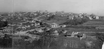 This undated photo of the Sunset Hills area shows the beginning of the Castle Shannon Boulevard business district as well as Sunset Drive. Fruithurst Drive can be seen in the upper right.