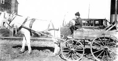 Here is a picture of Algeo's delivery wagon in 1916.