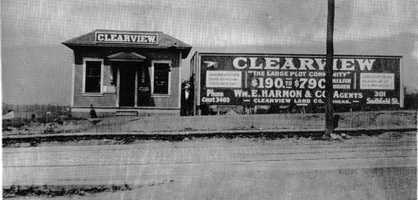 The sales building for the Clearview Plan sold lots for Justus Mulert's Clearview subdivision, so named as it offered an escape from the smoky city of Pittsburgh. The company was started in 1902, and this picture was taken in 1916.