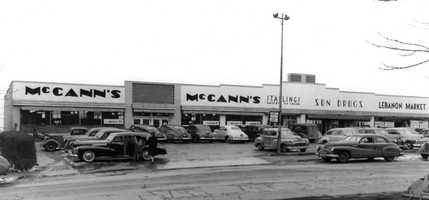 Over the years, this shopping center at 712-724 Washington Road has featured a bowling alley (below the McCann's store), an arts center, a Sun Drugs, and a teen center called the Outside Inn. Not visible on this 1947 picture was a Bard's ice cream/delicatessen at far right.