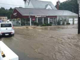 Flooding at Leopardi Auto Sales on Route 51 in Overbrook